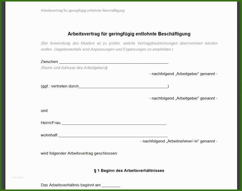 005 Blau De Kündigung Vorlage Pdf Minijob Arbeitsvertrag ...