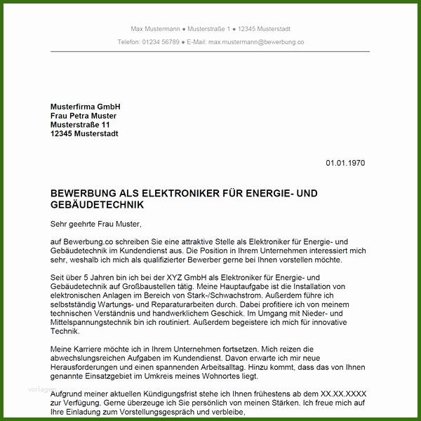 Bewerbung Als Elektroniker Für Energie Und Gebäudetechnik