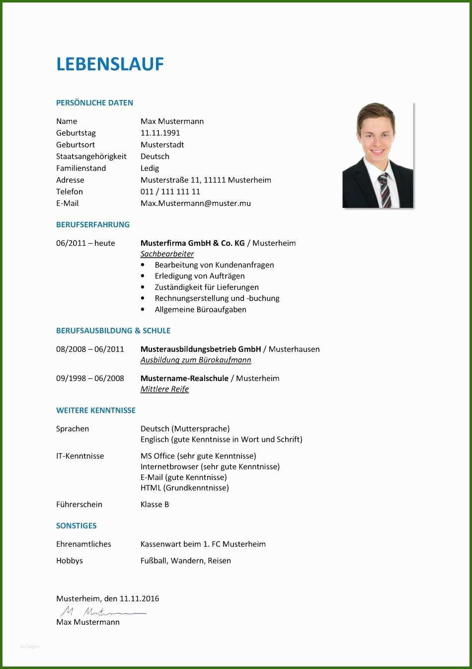 024 Lebenslauf Vorlage Bewerbung Ausbildung 13 ...
