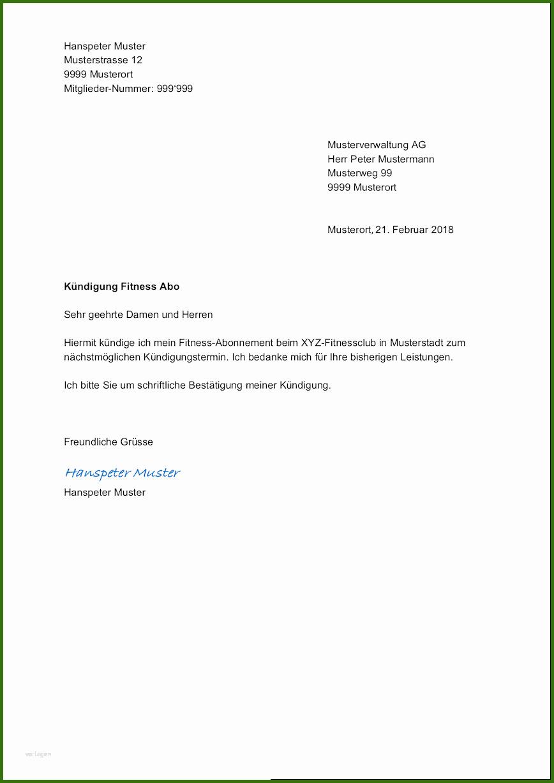 027 Kündigungsschreiben Abo Vorlage Vorlage Kündigung Für