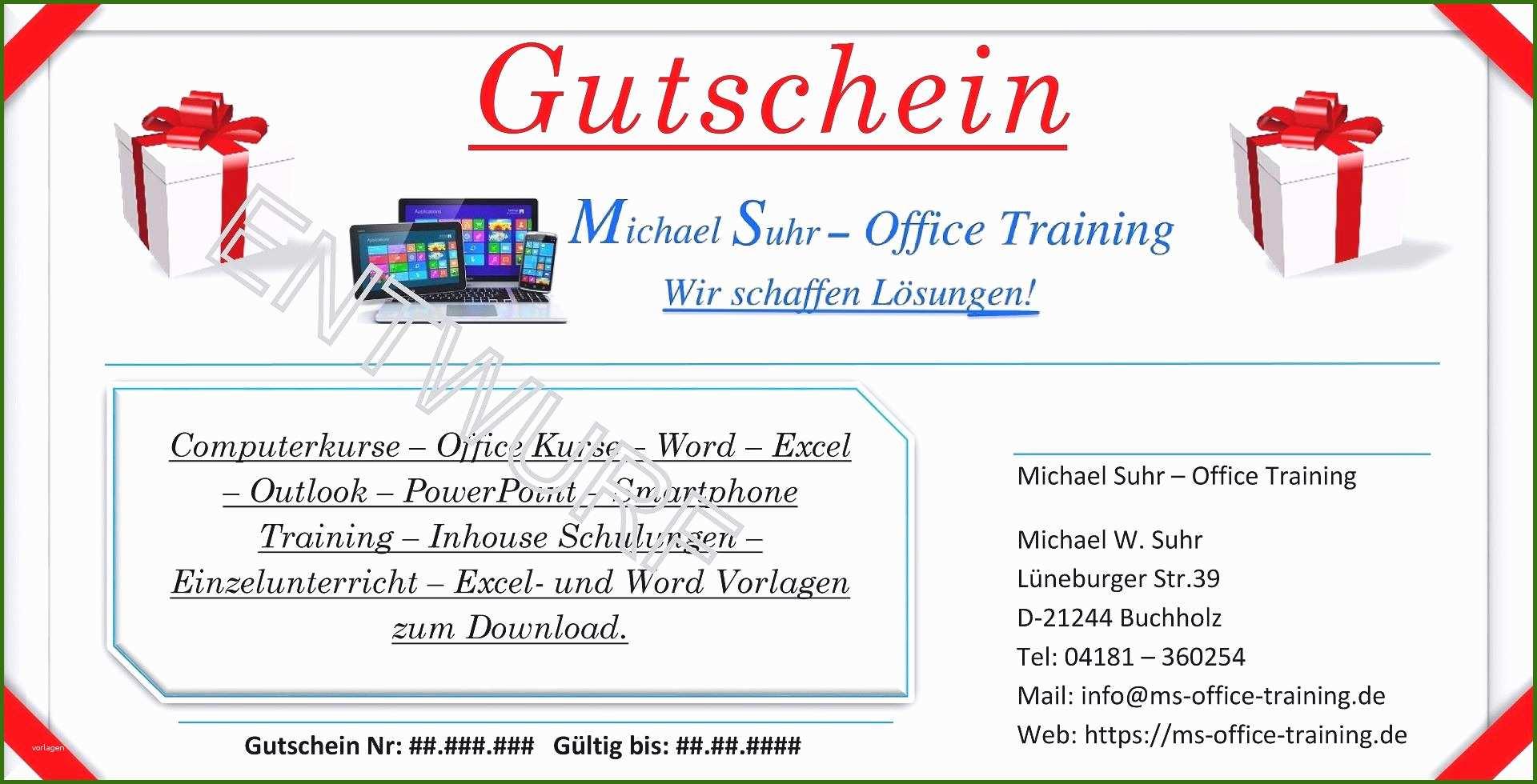 Word Gutschein Vorlage